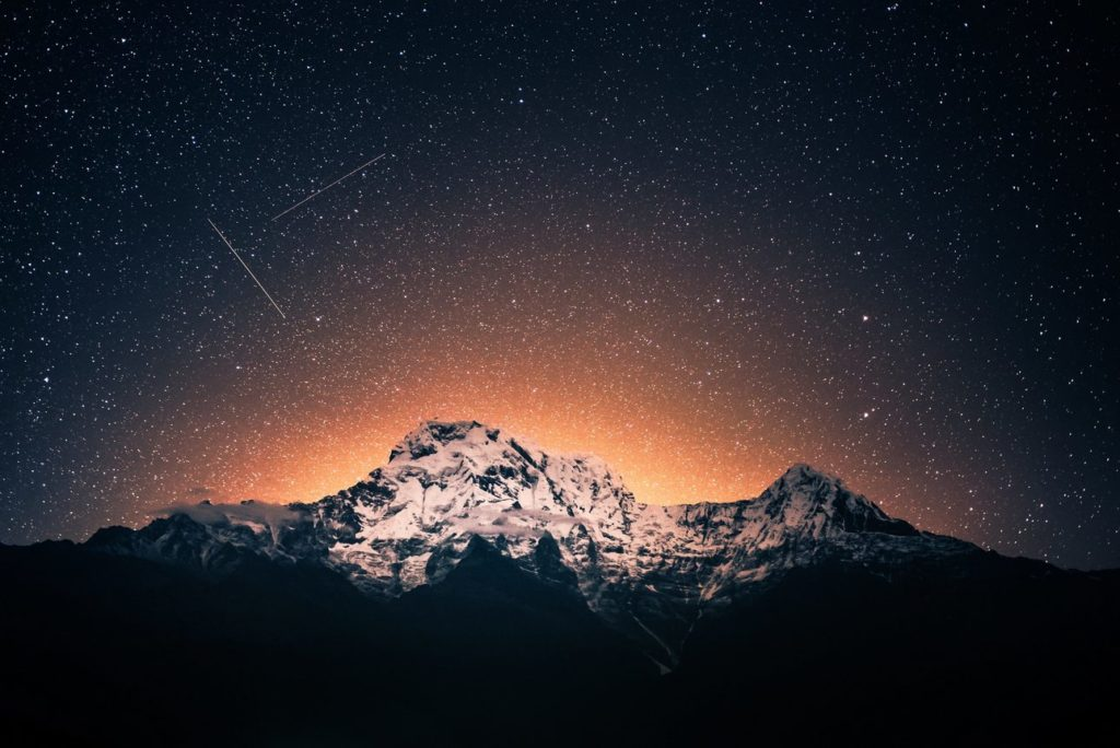 beautiful-milkyway night at annapurna base camp