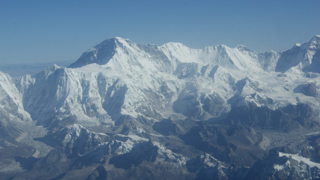 everest himalayan region during mountain flight