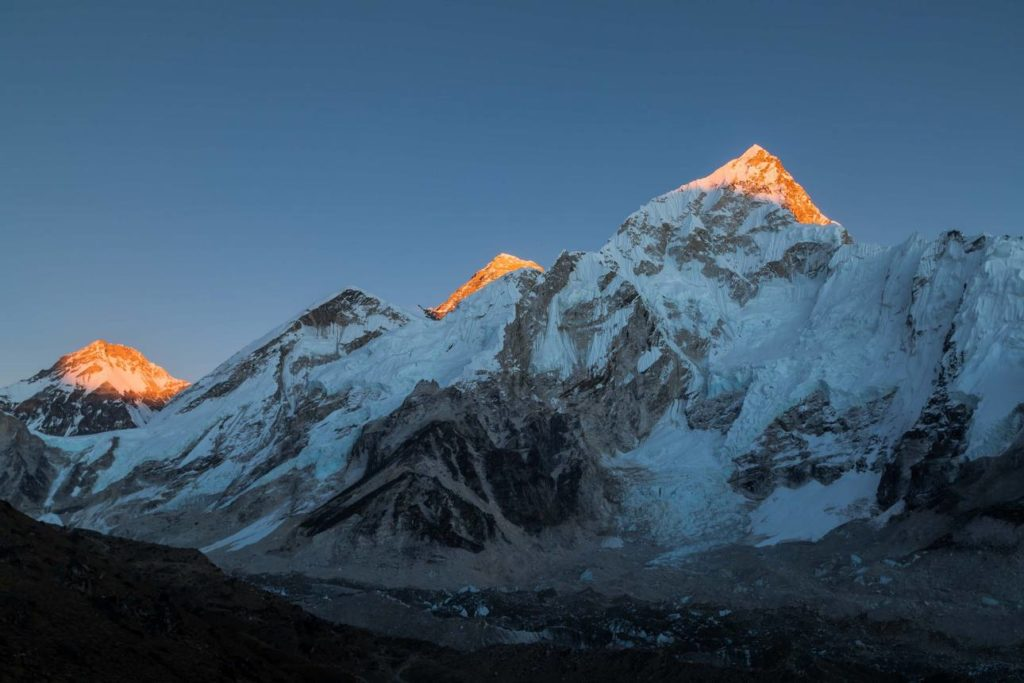 sunset view of Mt. Everest (middle), Nuptse and Changtse from Kalapatthar