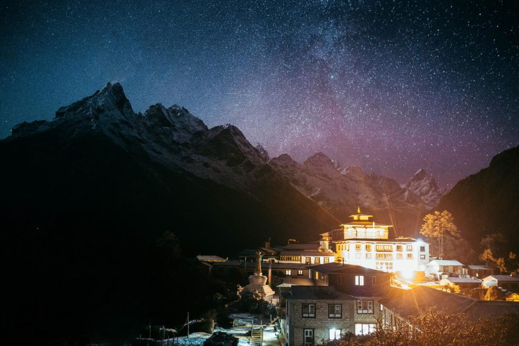 tengboche monastery at night